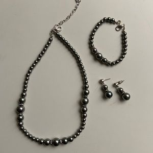 Charcoal and Diamond Necklace/bracelet/earring Set